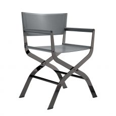 Ciak - Midj chair made of metal and natural hide, different colours, with armrest