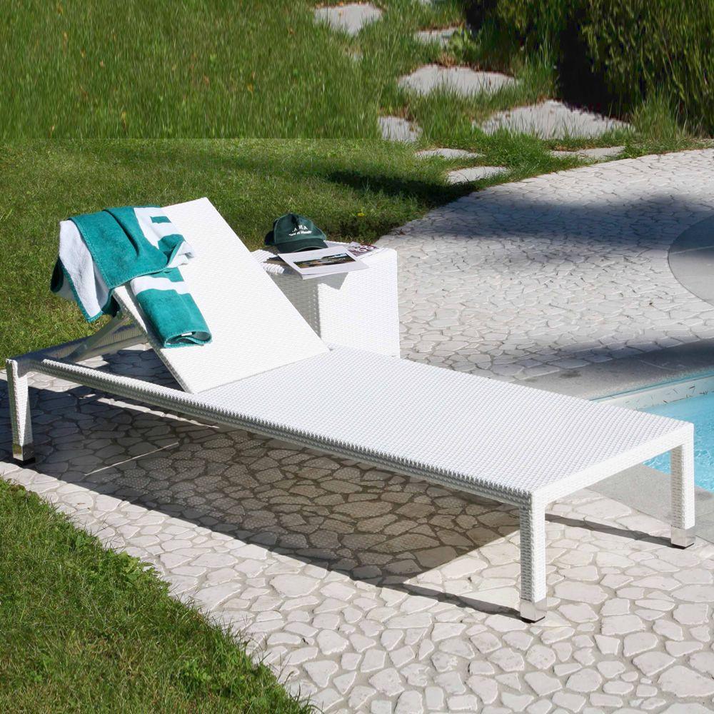 sam - lettino da giardino in alluminio e simil rattan, impilabile ... - Lettini Prendisole Per Esterno