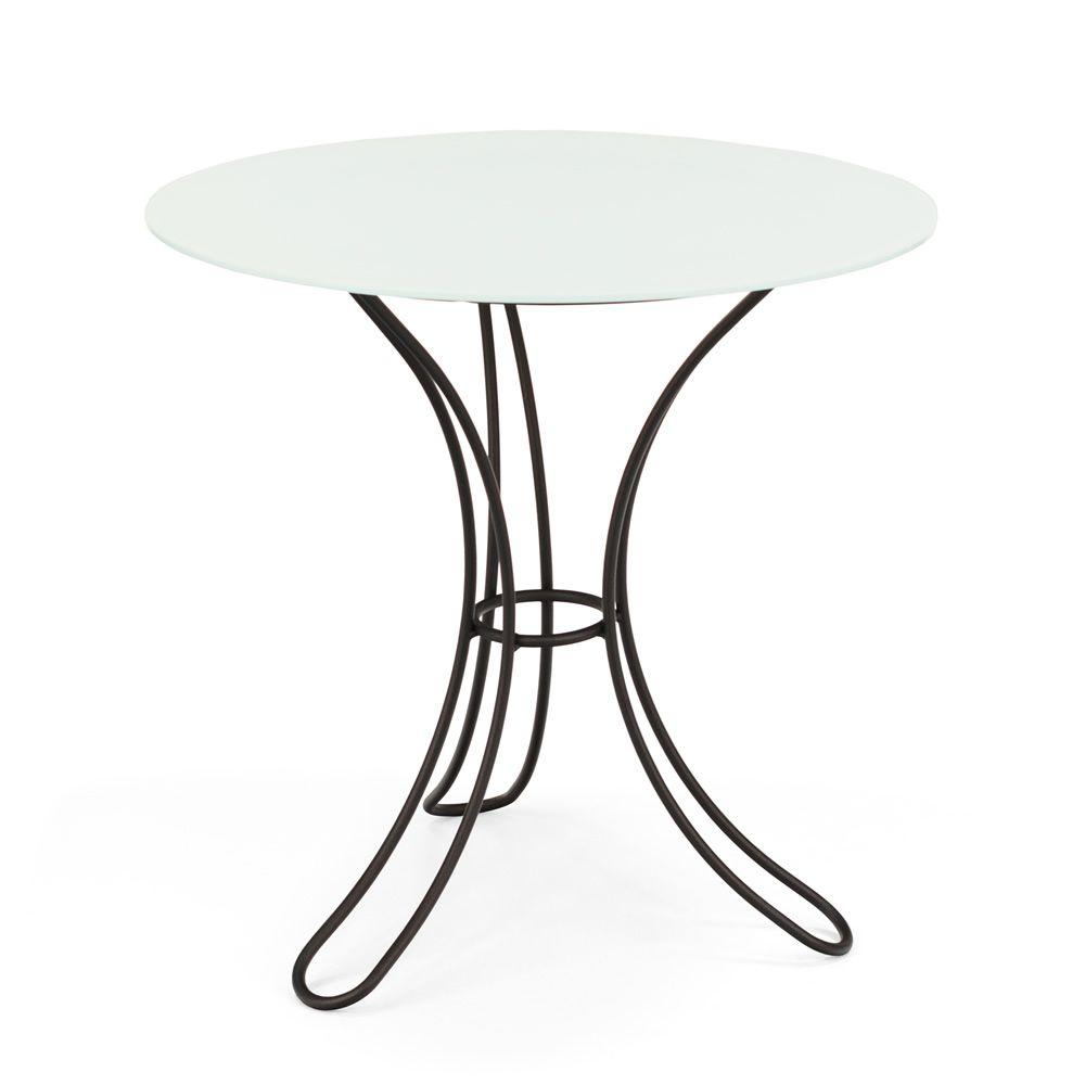 Fiocco T - Tavolino in ferro, piano tondo in vetro, diametro 60 cm ...