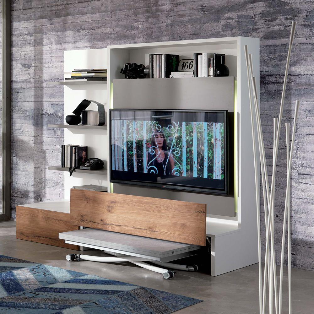 Smart living L: Mueble para salón en madera, con 3 repisas, por tv ...
