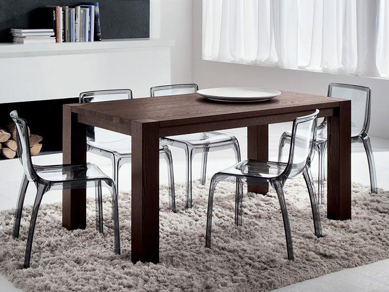 Pa118 tavolo in legno con piano 160x90 cm o 185x90 cm for Sedie nere moderne