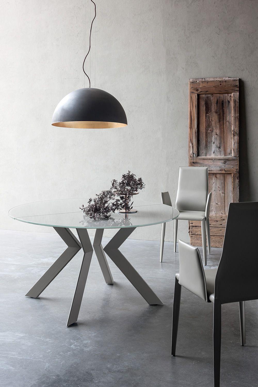 armenida table design ronde rallonge dot e de pi tement en m tal plateau en verre. Black Bedroom Furniture Sets. Home Design Ideas