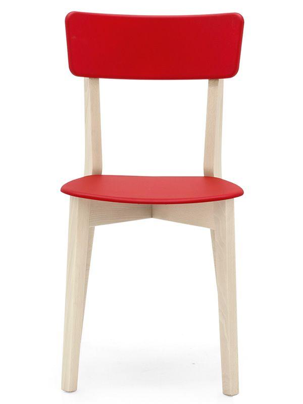 528 silla de madera con asiento de polipropileno for Sillas madera colores