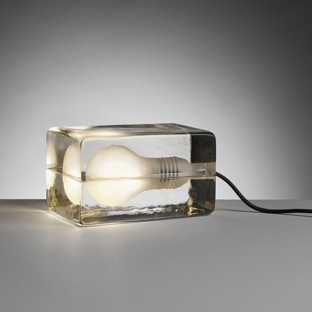 block designer tischlampe aus glas led mit stoffkabel. Black Bedroom Furniture Sets. Home Design Ideas