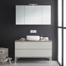 Memento D - Mobile bagno con lavabo in ceramica, piano in marmo, 2 cassettoni, disponibile in diversi colori