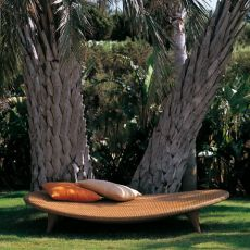 Elitre - Emu relax sunbed made of metal and synthetic rattan, for outdoor use