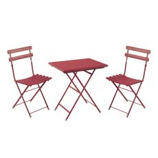 Arc en ciel Set - Emu set, 2 folding chairs and folding rectangular table in metal