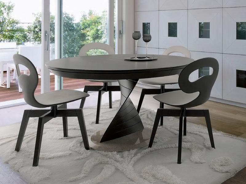 Orel tavolo idealsedia in legno e marmo piano tondo 133 for Tavolo rotondo allungabile design