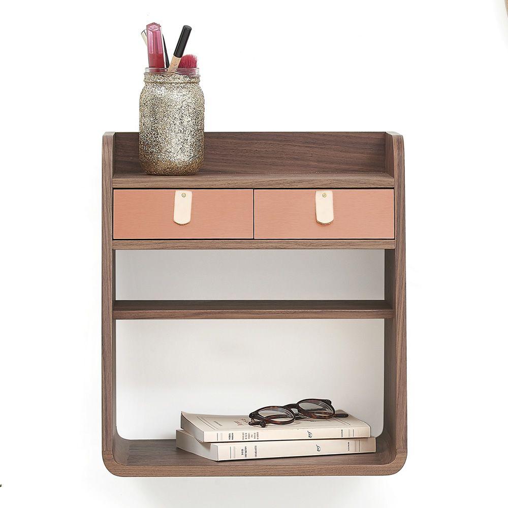 suzon wandregal aus holz mit zwei schubladen sediarreda. Black Bedroom Furniture Sets. Home Design Ideas