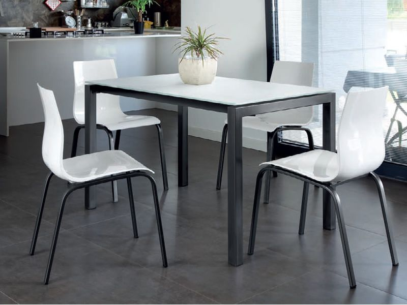 Web 120 table domitalia en m tal plateau en m lamin ou for Table 120x80