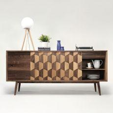 Scarpa W - Mobile da soggiorno in legno, con ante scorrevoli, mensole e cassetti