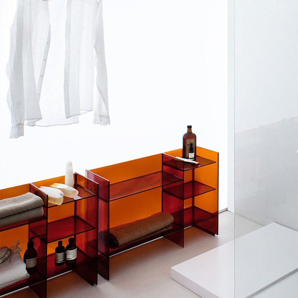Sound,Rack , Mobile bagno con ripiani in tecnopolimero colore ambra