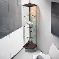 Parella 6429 - Tonin Casa corner showcase made of wood in wengè or aluminium lacquered, glass door, with LED light