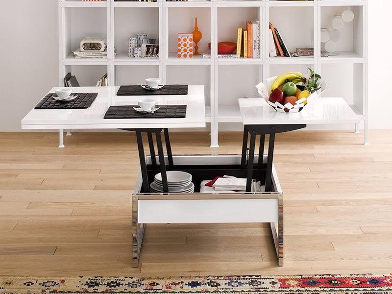 didone q - tavolino trasformabile in tavolo da pranzo, 90/180x90 ... - Tavolo Soggiorno Trasformabile