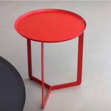 Round1 - Tavolino rotondo di design in metallo, disponibile in diversi colori