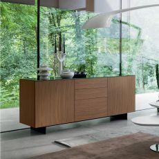 Slim-1 - Madia Dall'Agnese in metallo e impiallacciato, piano in vetro, diversi colori disponibili, due ante, due cassetti e un cestone