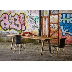 Skin - Tavolo in metallo e legno Colico Design, piano in rovere, disponibile in diverse misure