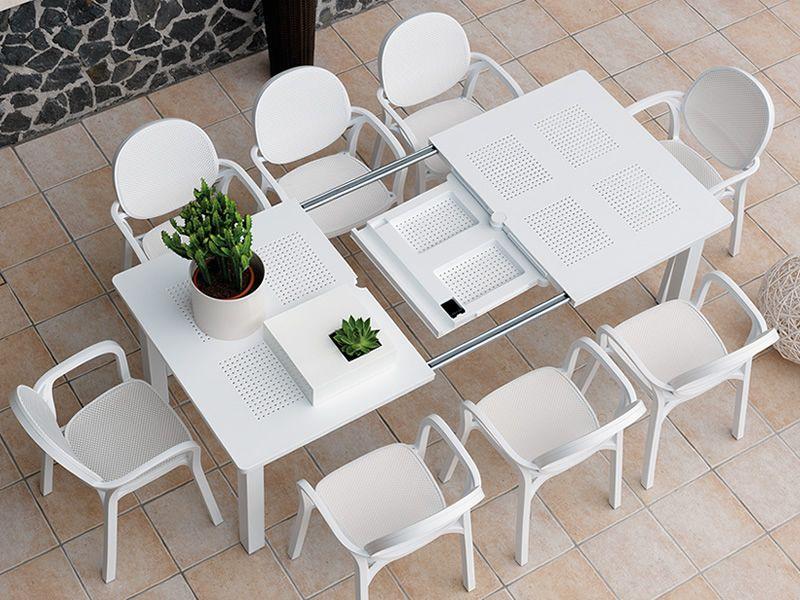 Libeccio Table Rallonge En M Tal Plateau En R Sine 160x100 Cm Pour Le Jardin Sediarreda