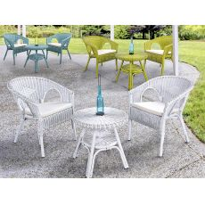 Lario - Armchair in rattan, with cushion, several colours, also with small table, for garden