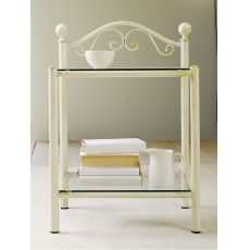 Lina D - Iron bedside table with glass tops, several colours