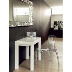 Cosmo-O - Consolle Domitalia in legno di frassino laccato bianco, 100 x 50 cm, allungabile