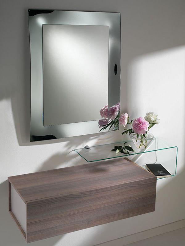 Due f mobile ingresso con due cassetti specchio e mensola in vetro sediarreda - Mobile d ingresso ...