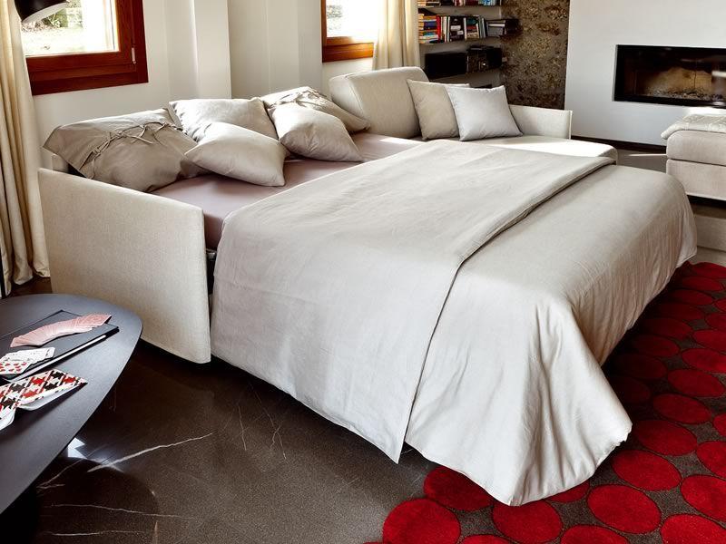 Aloe divano letto a 2 o 3 posti maxi con chaise longue - Divano letto aperto ...