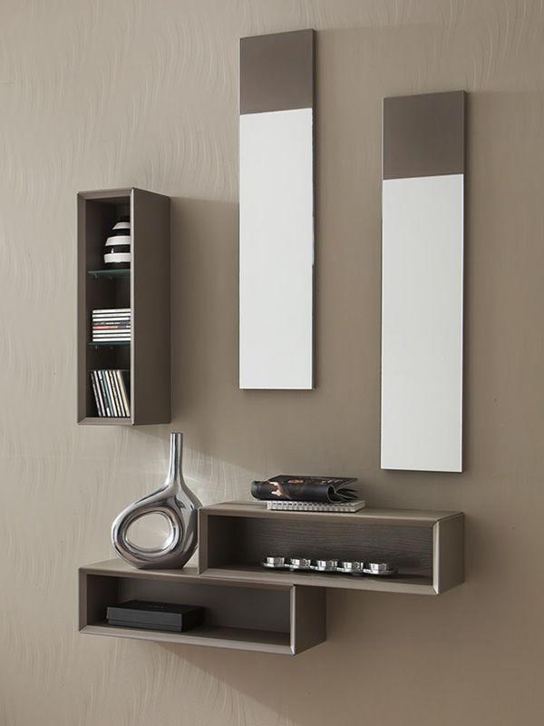 Pa603 mobile ingresso con specchi e box verticale disponibile in diversi colori sediarreda - Mobile d ingresso ...