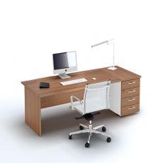 Idea Panel 02 - Scrivania operativa per ufficio con cassettiera, in laminato, disponibile in diverse dimensioni
