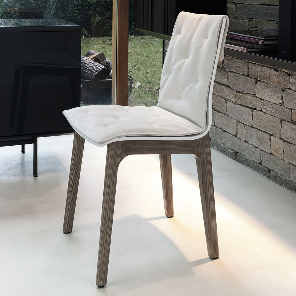 Alfa wood soft sedia di design bontempi casa in legno for Sedie da salotto in pelle