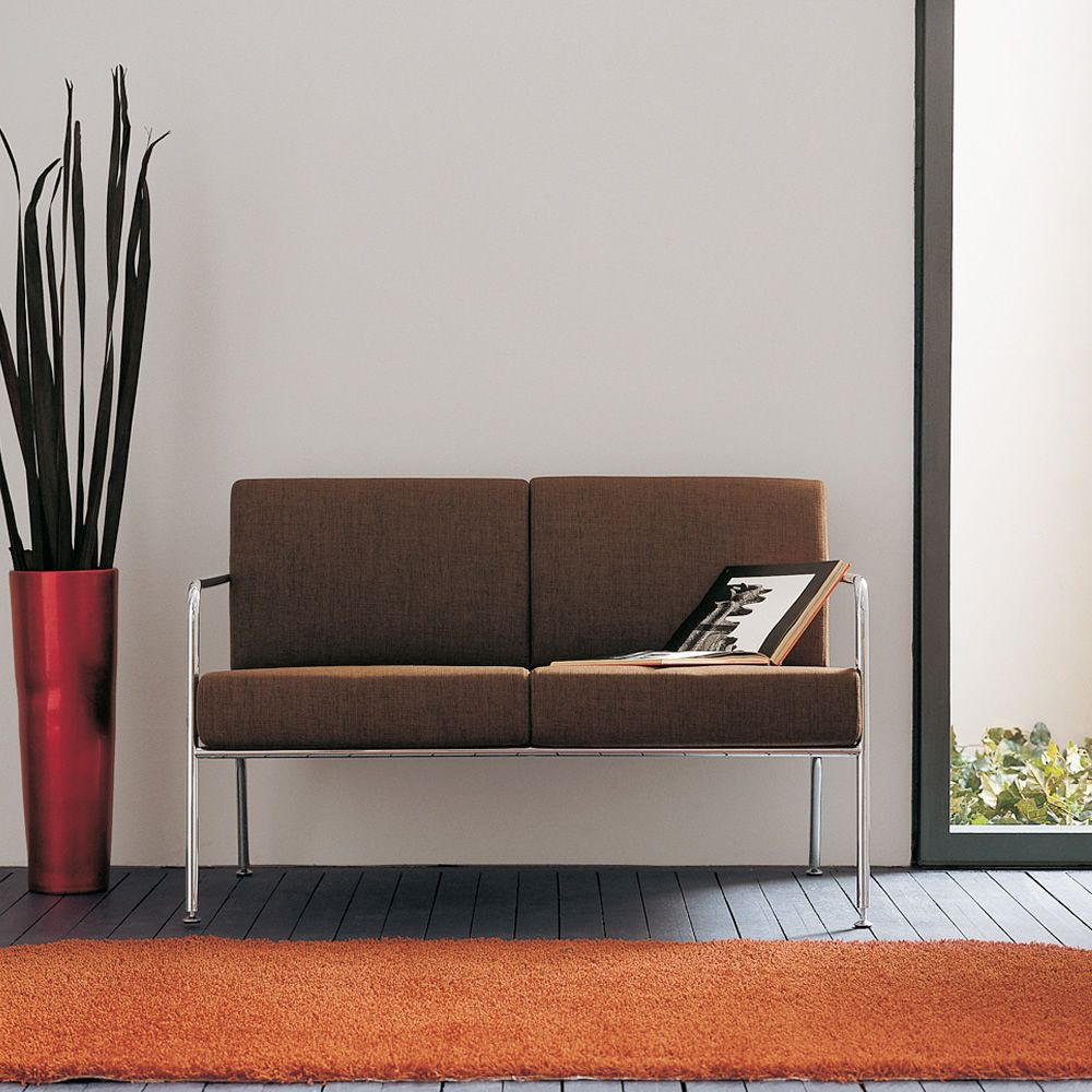 Billy 2 divano moderno in metallo con seduta in pelle similpelle o tessuto diversi colori - Divano pelle o tessuto ...
