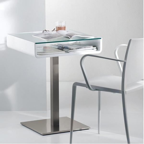 Multifunzionale tavolo o scrivania pedrali con for Scrivanie in vetro e acciaio