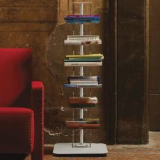 Ziadele - Ground bookcase in trasparent methacrylate and metal, available in different heights and colours