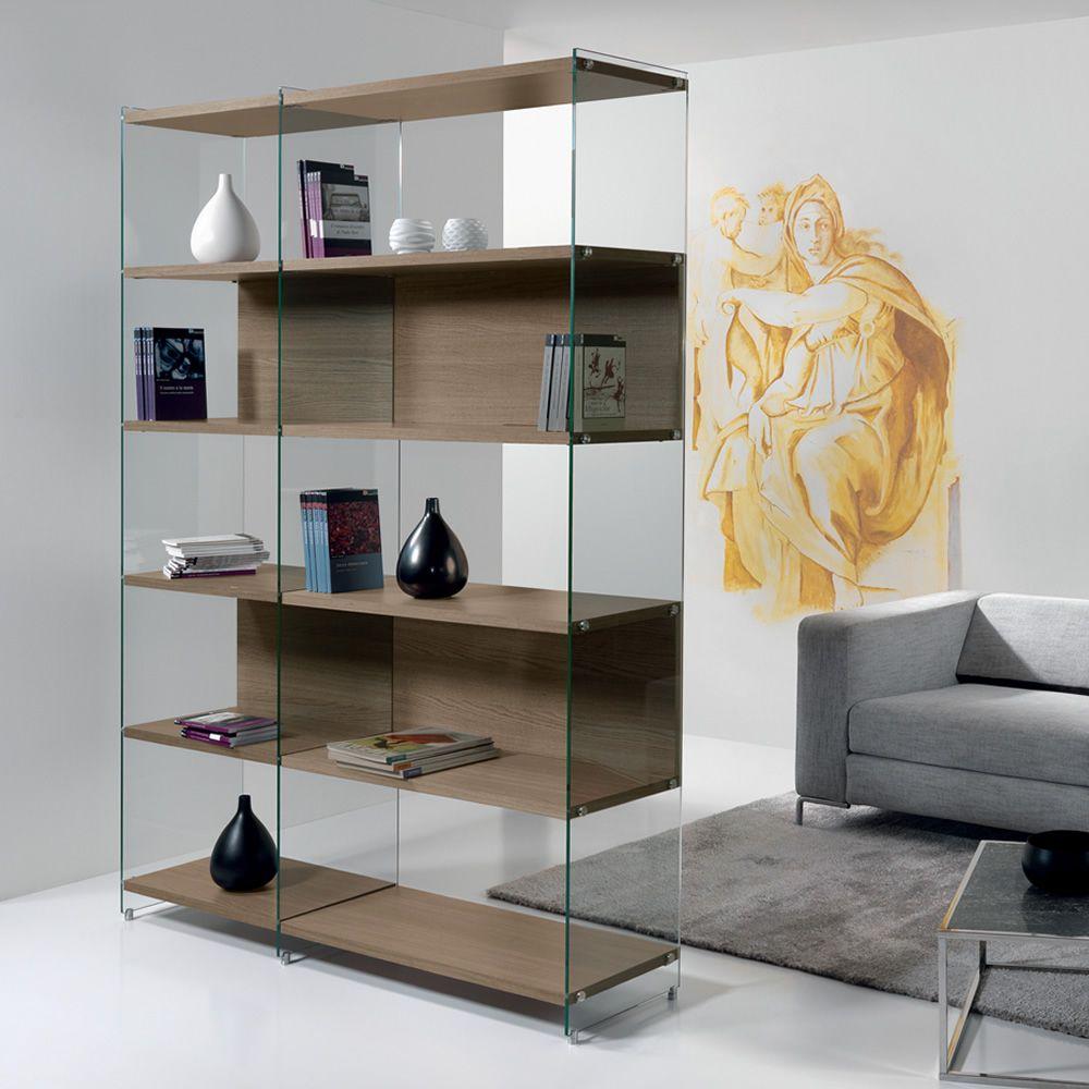 Byblos libreria in vetro trasparente con ripiani for Scrivanie in vetro e acciaio