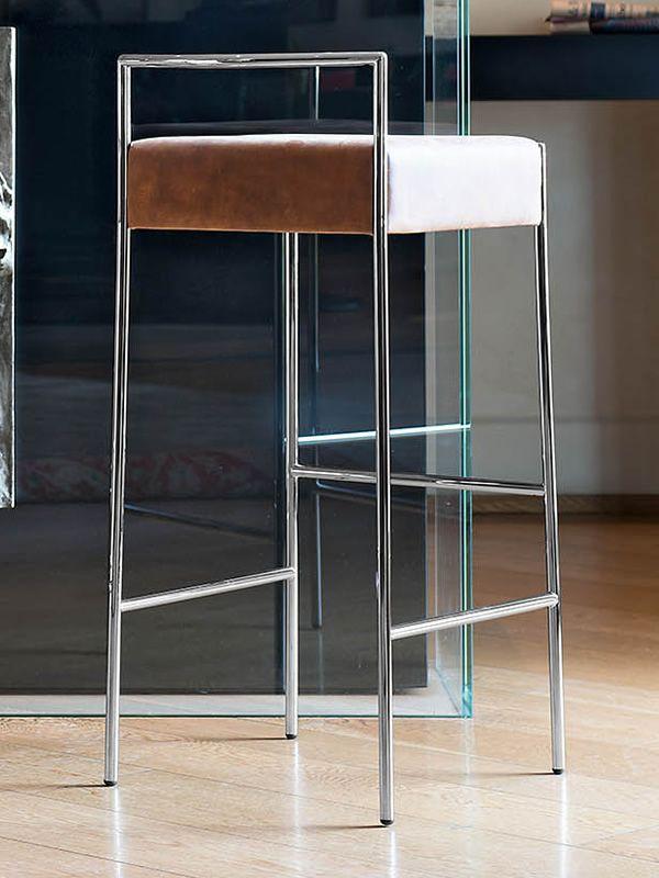 mark h feststehender hocker midj aus metall sitz aus naturleder echtleder kunstleder oder. Black Bedroom Furniture Sets. Home Design Ideas