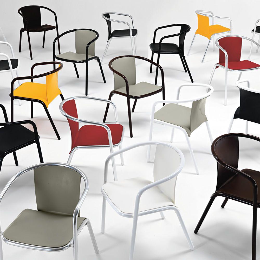 Mar design stuhl aus aluminium und polypropylen oder gepolstert stapelbar auch f r garten - Stuhle stapelbar gepolstert ...