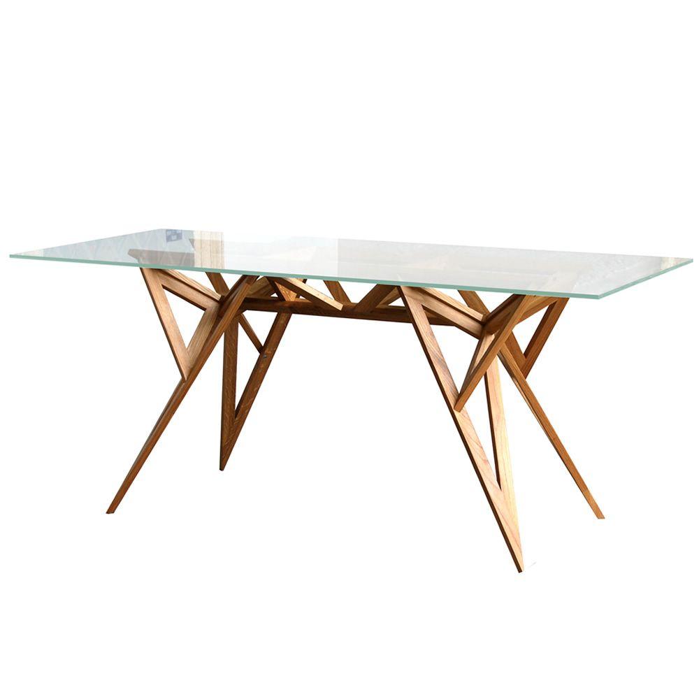Schegge Designer Tisch Valsecchi Aus Holz Mit Glasplatte