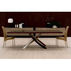 Artistico Wood - Table design de Bontempi Casa, fixe 200x106 cm, comportant un piétement central en métal et un plateau en bois, disponible en différentes couleurs