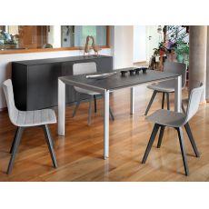 Klass-160 - Tavolo Domitalia in alluminio, piano in vetro o ceramica, 160 x 90 cm allungabile