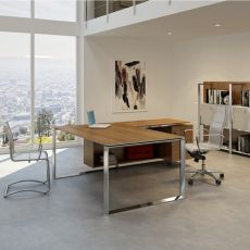 Office X7 01 - L-shaped desk for executive office, with drawers, in metal and laminate, available in different dimensions and finishes