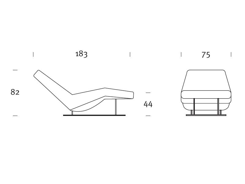 Ethos moderna chaise longue en piel bicolor con masaje for Chaise longue medidas