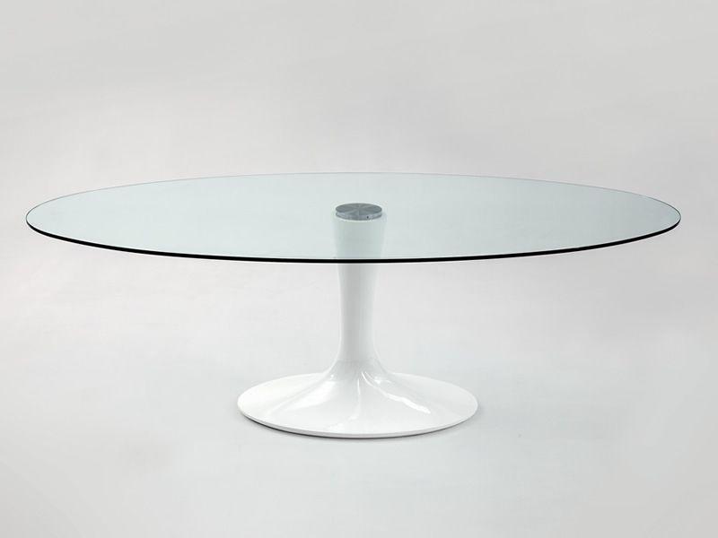 8010 Imperial - Tavolo design Tonin, piano in vetro ovale, 180x105 cm, diverse finiture - Sediarreda