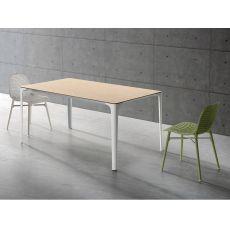 Mat - Tavolo allungabile Infiniti in metallo, piano in vetro, alluminio o Newpann, diversi colori e misure