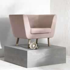 Nest-P - Armchair with structure and legs in wood, padded and covered with fabric, different colours available