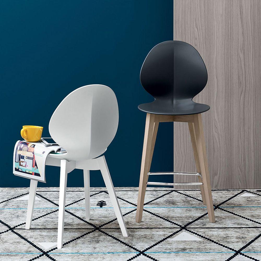 Cs1495 basil w tabouret en bois avec assise en polypropyl ne en - Mousse pour assise canape ...
