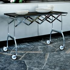 Battista - Design Kartell folding trolley, in chromed metal et polyurethane, different colours available