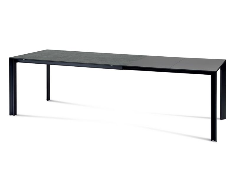 klass 140 table domitalia en aluminium plateau en verre c ramique 140 x 90 cm rallonge. Black Bedroom Furniture Sets. Home Design Ideas