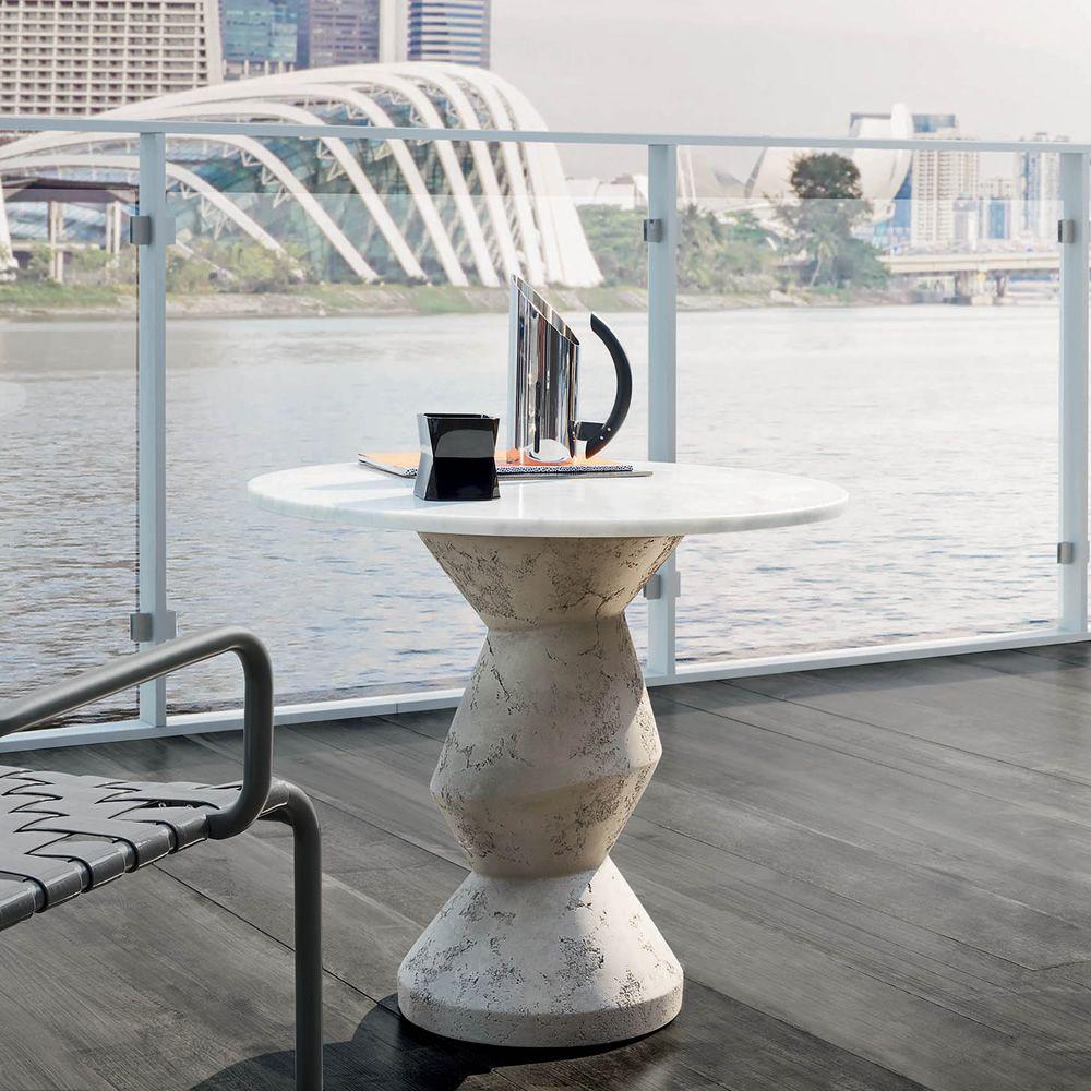 inout 837 838 runder tisch gervasoni aus beton mit platte aus marmor in verschiedenen. Black Bedroom Furniture Sets. Home Design Ideas
