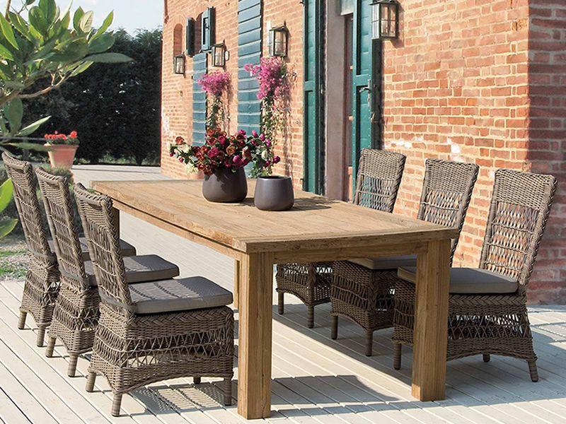 garda tavolo in teak piano rettangolare 240x100 cm