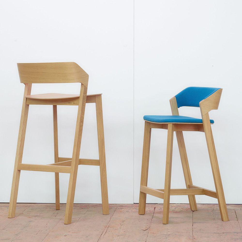 Merano stool taburete ton de madera con asiento de - Taburetes de madera ...